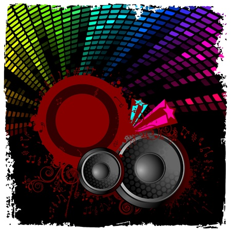 illustration of abstract musical background with loudspeaker Stock Vector - 10745840