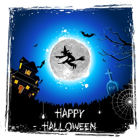 wicked: illustration of witch flying on broomstick in halloween night Illustration