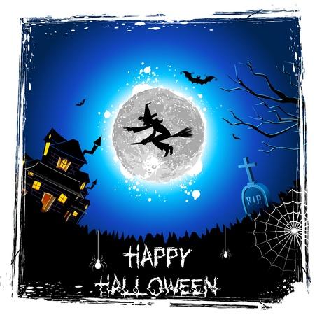 strega che vola: illustrazione di strega volare sulla scopa nella notte di Halloween