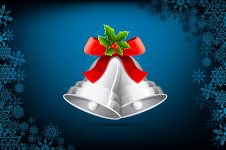 jingle: illustration of jingle bells tied with ribbon for christmas decoration