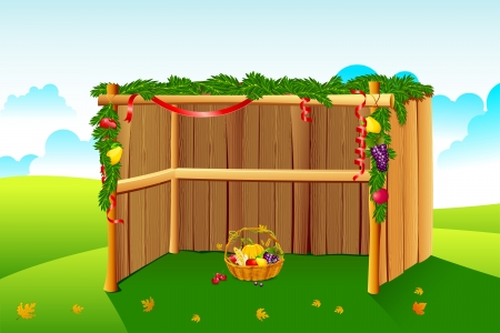tabernacles: illustration of sukkah decorated with leaves and fruit for sukkot