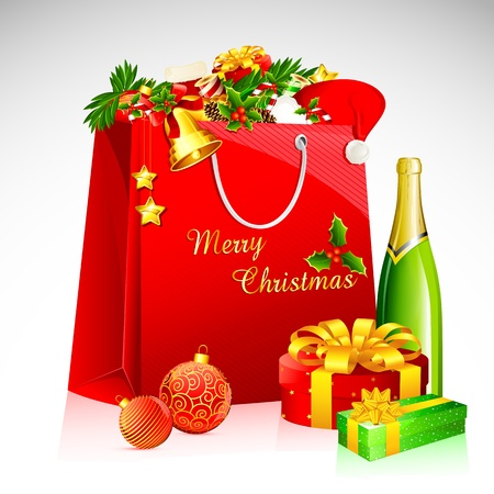 new year's cap: illustration of shopping bag with christmas goodies with champagne bottle