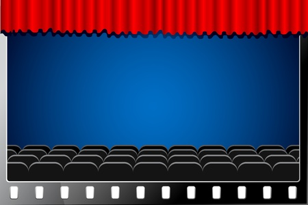 illustration of cinema hall with stage curtain in film reel