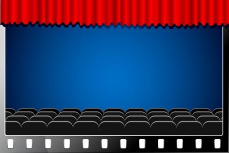 cinematografico: Ilustraci�n de la sala de cine con cortina de etapa en el carrete de pel�cula Vectores