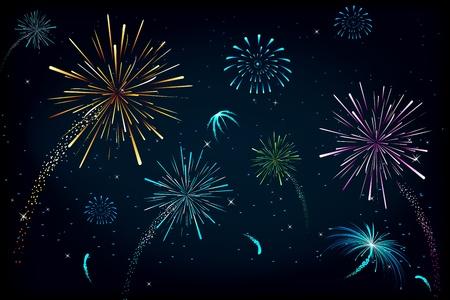 illustration of colorful fire cracker blast in sky Stock Illustration - 10745859