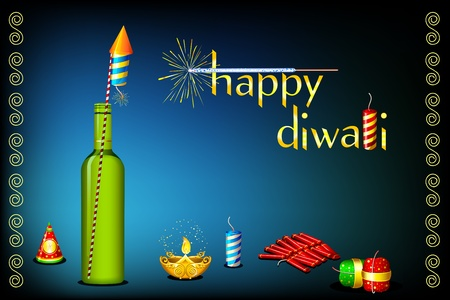 crackers: Ilustración de diwali tarjeta con fuego cracker y diya