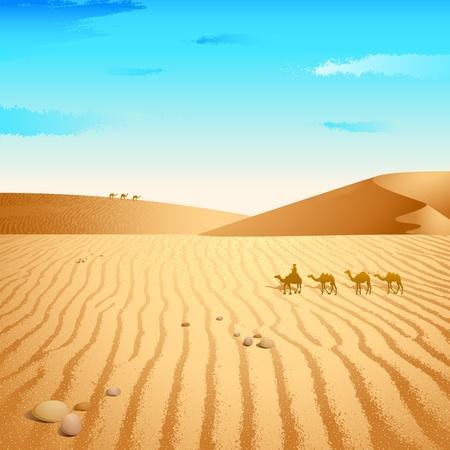 desierto del sahara: Ilustración del grupo de camellos caminando en el desierto Vectores