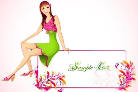 illustration of lady sitting on floral frame board Stock Illustration - 10831002