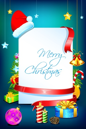 illustration of christmas card with santa cap and gift Vector