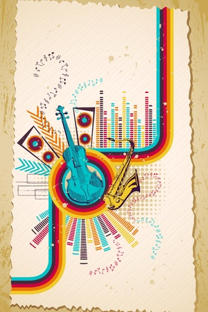 mozart: illustration of retro style musical background with violin Illustration