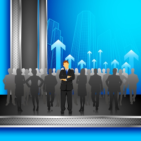 illustration of leader standing in front of crowd on corporate background Stock Vector - 10831008