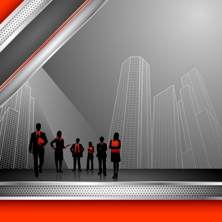 smart woman: illustration of business people on corporate background with office building Illustration