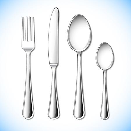 cubiertos de plata: ilustración de la cubertería con un tenedor, cuchillo y cuchara