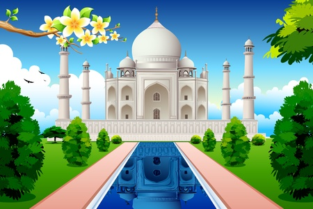 taj: illustration of front view of taj mahal with lake and garden Illustration