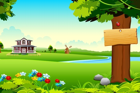 rural houses: illustration of house in side of lake in green meadow Illustration