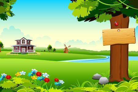 praterie: illustrazione di casa a lato del lago in prato verde