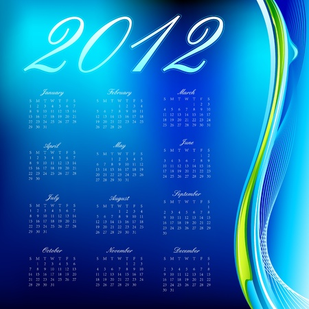 illustration of complete calendar for 2012 in abstract background Vector