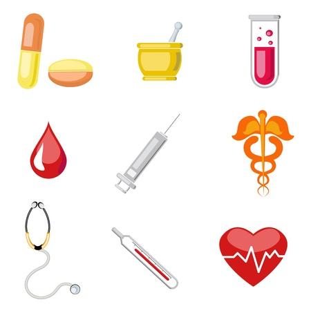 drug test: illustration of set of medical icon on plane white background