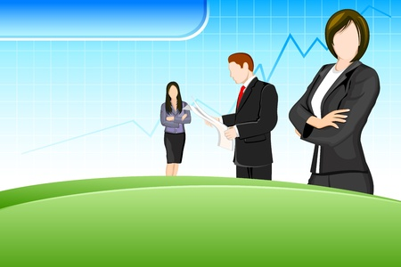 young executives: illustration of business people on business background with graph line Illustration