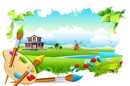 palet: ilustración de la pintura de paisaje con placa de color y el pincel