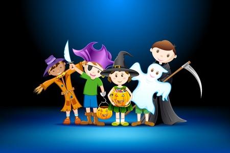 illustratie van kinderen in klederdracht van de heks, vogelverschrikker en grimmige voor Halloween