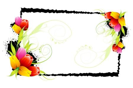 cenefas flores: ilustración de tulipanes de colores con grungy marco