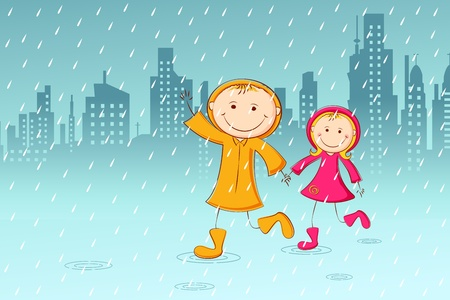 rainy season: illustration of kids playing in rainy day with cityscape background Illustration