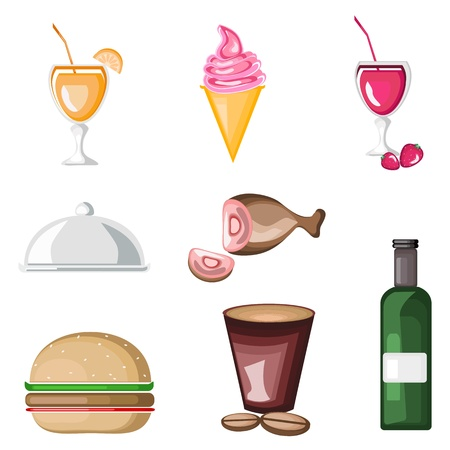 illustration of set of food icon on isolated background Vector