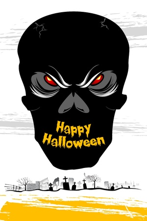illustration of skull on card with halloween background illustration