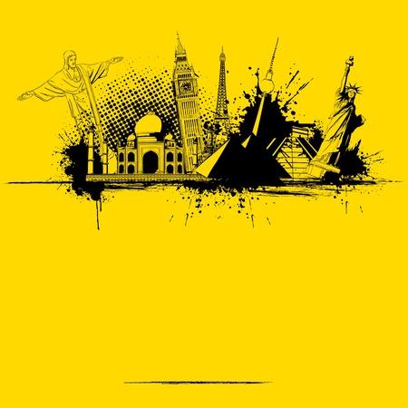 famous: 插圖世界著名的紀念碑在蹩腳的旅行背景的 向量圖像
