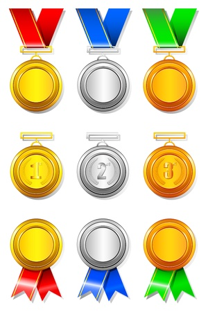 bronze medal: illustration of set of gold,silver and bronze medal on isolated background