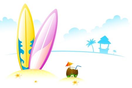 Ilustración de Junta de surf con coco tierno en Playa de mar Ilustración de vector