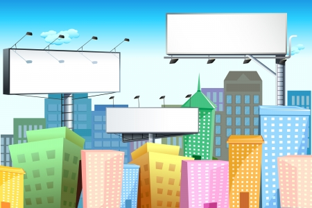 illustration of blank bill board in cityscape with tall building Illustration