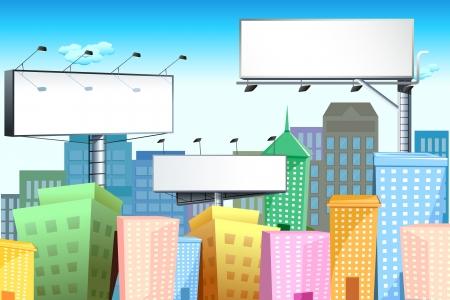 publicity: Ilustraci�n de la Junta de bill en blanco en el paisaje urbano con edificio alto