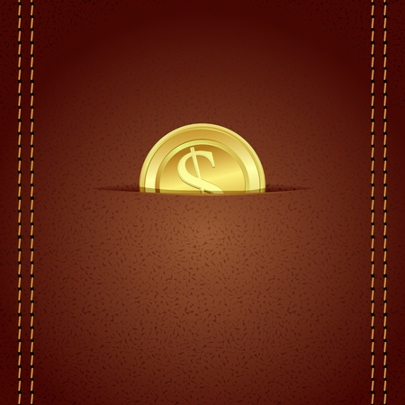 illustration of gold coin in leather wallet with stiched border Vector