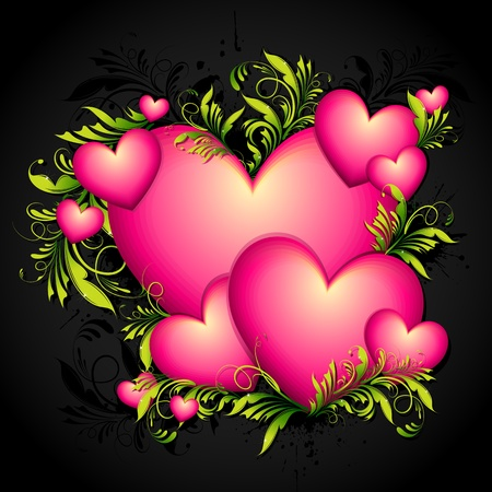truelove: illustration of heart with floral swirls on abstract background