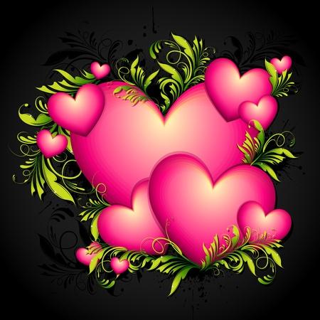 truelove: illustrazione del cuore con turbinii floreali su sfondo astratto Vettoriali