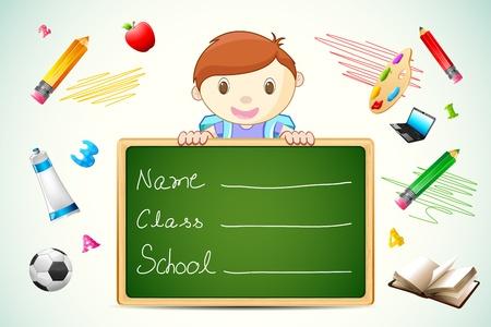 ilustración de niño de la escuela con la pizarra y el tema de educación
