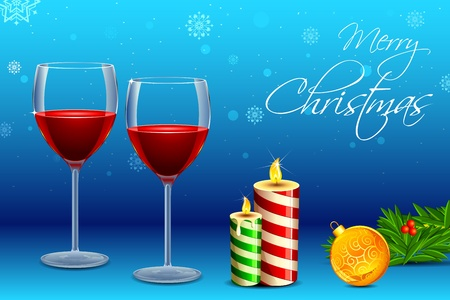 illustration of wine glass with with decorative candle and christmas ball Stock Vector - 10885254