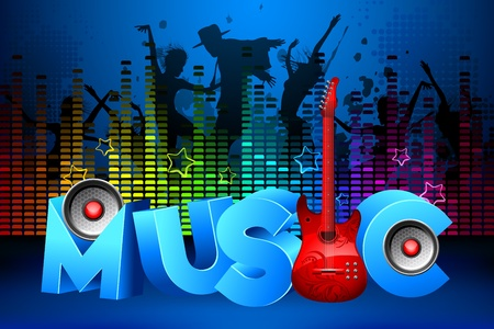 illustration of people dancing in party on colorful musical background Vector