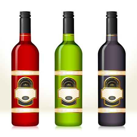 alcoholic beverage: illustration of set of colorful wine bottles with different blank label