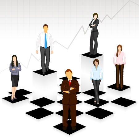chess board: illustration of business people standing on different level of chess board