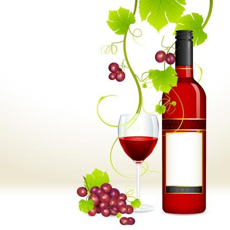 ilustraci�n de uva roja con una botella de vino tinto y el vaso lleno de vino