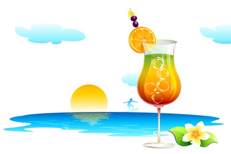 illustration of cocktail glass on sea beach Stock Illustration - 10885251