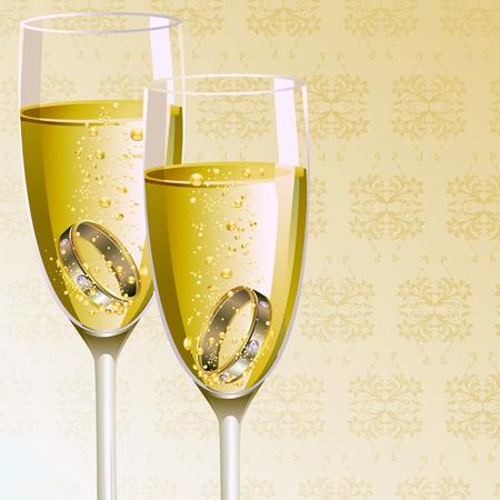 bague de fiancaille: illustration de la paire de bague de fian�ailles dans un verre de champagne Illustration
