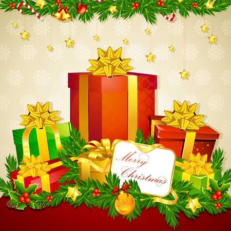 illustration of colorful gift box with christmas decoration Stock Illustration - 10928184
