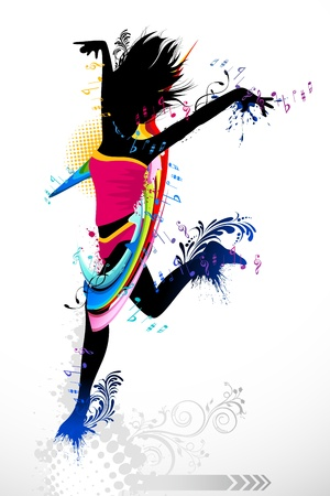 femal: illustration of femal dancer with grunge and floral background Illustration