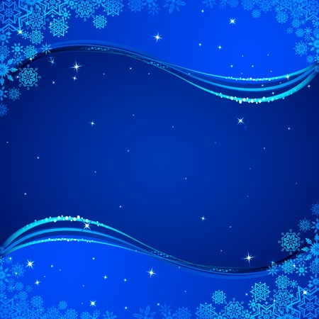 illustration of snowflakes on abstract wavy background Vector