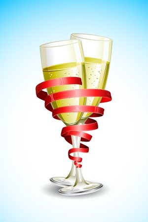 christmas dinner party: illustration of two champagne glass wrapped with with ribbon