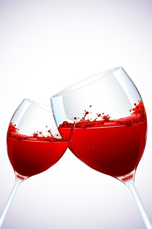 glass of red wine: illustration of pair of splashing wine glass